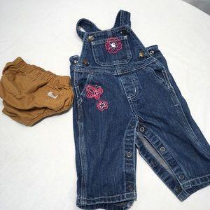 Carhartt Baby Girls Diaper Cover & Overalls